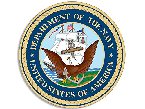American Vinyl Round Department of The Navy Insignia Seal Sticker (Logo us Seal Military Naval)