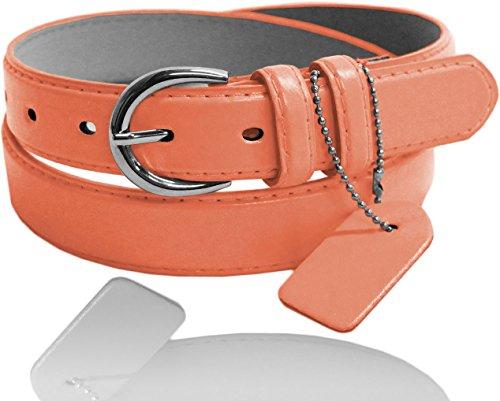Eurofashion Women's Premium Leather Skinny Belt - BU5578 - Peach - X-Large (Belt Peach)