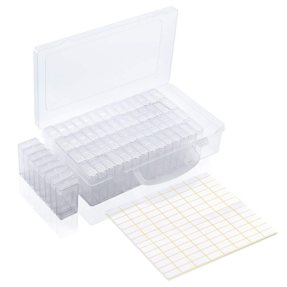 Embroidery and 5D Diamond Painting Tools Accessories Storage Containers Box Handle Portable Craft Organizer Case with Label Stickers Artscope 64 Slots Diamond Embroidery Box