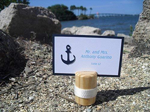 (Escort Card Holders - SET OF 10 Nautical Wood Beach Wedding Place Card Holders - Item 1165)
