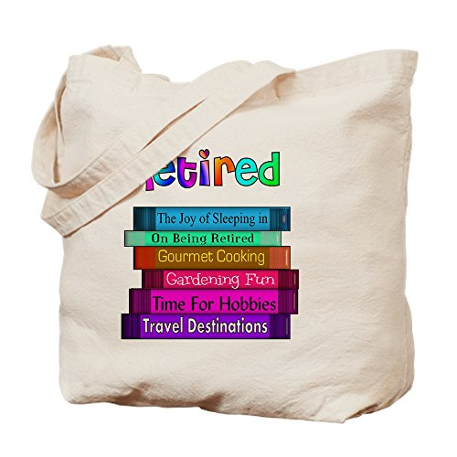 """Retired Book Stack Canvas Tote Bag"" by CafePress"