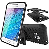 TARKAN Hard Armor Hybrid Rubber Bumper Flip Stand Rugged Back Case Cover For Samsung Galaxy A5 - BLACK