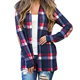 GIFC Clearance Fashion Women Plaid Long Sleeve Pullover Open Front Jacket Coat Outerwear Blouse Shirts Tops