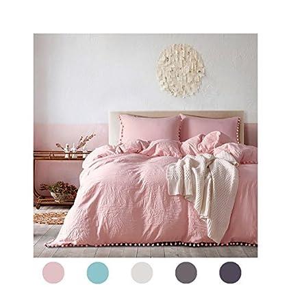 3 Pieces Pink Bedding Pink/Peach Duvet Cover Set Ball Fringe Pattern Design Soft  Light