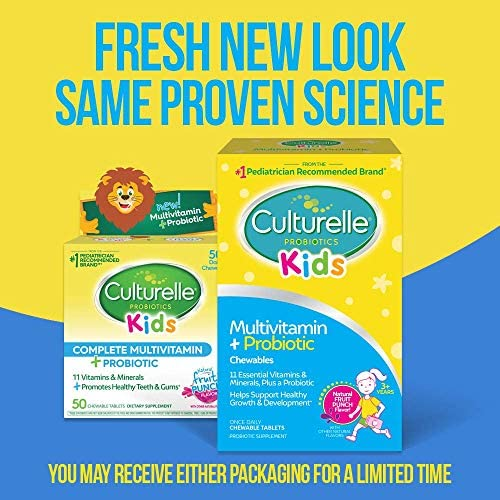 51IzPUT8v8L. AC - Culturelle Kids Complete Multivitamin + Probiotic Chewable - Digestive & Immune Support For Kids - With Vitamin C, D3 And Zinc - 50 Count