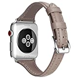 Leather Watch Strap 42mm for Apple Watch 42mm Replacement Watch Bracelet for Apple Watch Gray