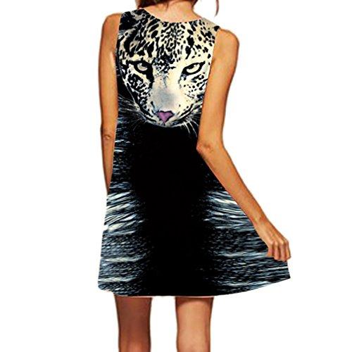 Honghu Verano Vestido Sin Mangas Moda Impresión para Mujer Mini Printing Dress Negro
