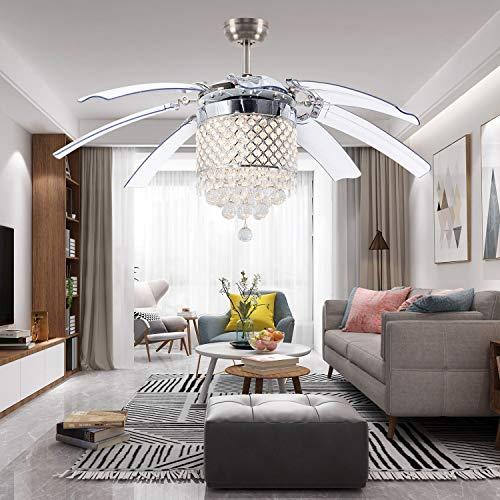 LuxureFan Modern Crystal Ceiling