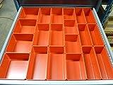 Schaller 65 Pc Red Plastic Box Assortment . 3'' Deep .Nine (9) Sizes