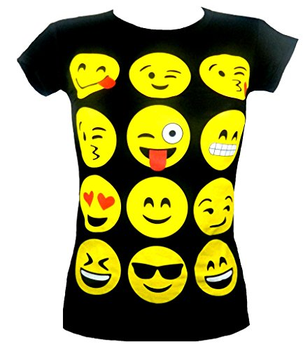 Faces Girls T-shirt (Fashion Oasis Big Girls' Emoji Emoticons Multi Faces Short Sleeve T-Shirts Tops 13 Years Black)
