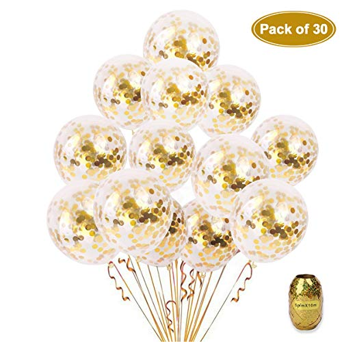 KKONETOY - 30 Pieces Gold Confetti Balloons, 12 Inches Party Balloons With Golden Paper Confetti Dots For Party Decorations Wedding Decorations And Proposal