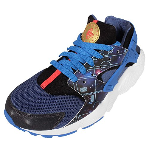 Nike Huarache Run Print (Gs), Zapatillas de Running para Niños Azul / Negro / Blanco (Mtlc Hmtt / Mtllc Gld-Lt Pht Bl)