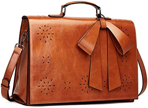 CLUCI Briefcase for Women Oil Wax Leather 14 Inch Laptop Large Ladies Vintage Business Work Bow Shoulder Messenger Bag Brown
