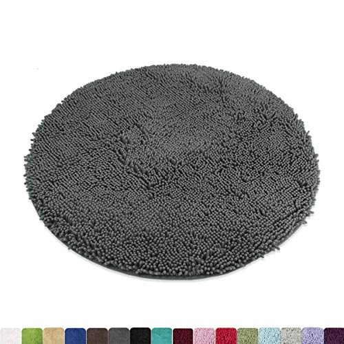 - MAYSHINE Round Bath Mat Non-Slip Chenille 3ft Shaggy Bathroom Rugs Extra Soft and Absorbent Perfect Plush Carpet for Living Room Bedroom, Machine Wash/Dry-Dark Gray