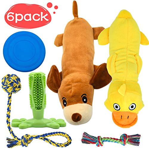 Stuffed Animals Squeaky Dog Toys for Small Dogs, Dog Rope Toy Set Dog Toothbrush Puppy Chew Toy for Chewing & Cleaning…