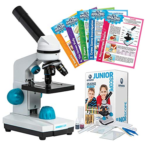JuniorScope Microscope for Kids - 3 Magnification Levels - 40x, 100x, 400x - Includes Slides, Science Experiments & Accessories - Portable Student Microscope -
