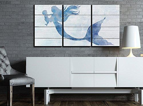 Mother Mermaid and Baby Mermaid on Rustic Wood Background (Stye 1) x3 Panels