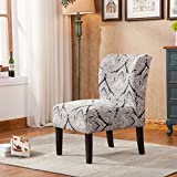 Capa Sapphire Print Fabric Armless Contemporary Accent Chair
