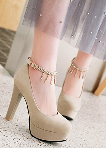 Aisun Womens Buckled Dressy Rhinestone Low Cut Chunky High Heel Round Toe Platform Pumps Shoes With Ankle Strap Beige 9WrQ533