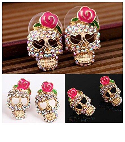 Clearance, Punk Style Cute Pink Rose Rhinestone Skeleton Skull Ear Studs Earrings Jewelry For Women Girls (Rose Skull Rhinestone)