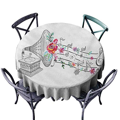 - VIVIDX Spill-Proof Table Cover,Music,Vintage Style Gramophone Record Player with Floral Ornament Blossom Antique,Table Cover for Kitchen Dinning Tabletop Decoratio,47 INCH,Grey Black White