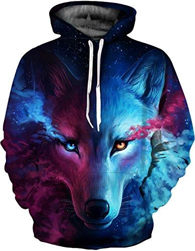 SAINDERMIRA Unisex Fashion 3D Digital Galaxy Pullover Hoodie Hooded Sweatshirt Athletic Casual with Pockets(Nebula Wolf, XXL/XXXL)