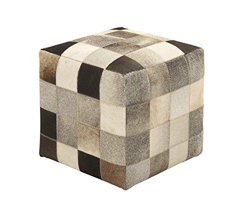Deco-79-95919-Wood-Leather-Hide-Ottoman-16-x-16-Multicolor