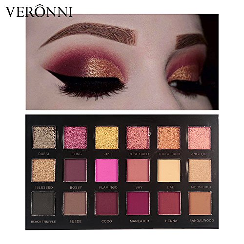 Eyeshadow Palette 18 Colors Matte Shimmer Eyeshadow Makeup Nude Warm Smoky Pro Eye Shadow Cosmetics 11Matte + 7Shimmer(VERONNI)
