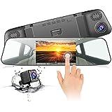 "Jeemak Backup Camera 4.3"" Touch Screen Mirror Dash Cam 1080P Rearview Front Rear Dual Lens Dashboard Recorder Waterproof Reversing Camera"