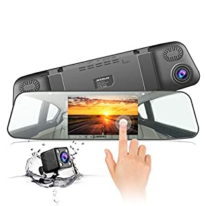 Jeemak Backup Camera 4.3″ Touch Screen Mirror Dash Cam 1080P Rearview Front and Rear Dual Lens Dashboard Recorder with Waterproof Reversing Camera