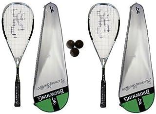 Browning Platinum Nano Chrome 2 X 100-Raquette de Squash-Lot de balles de Squash Dunlop