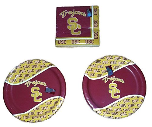 "USC Trojans Party Bundle 9"" Plates (16) Napkins (20)"