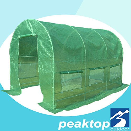 Peaktop® 12' X 7' X 7'/15'x7'x7' /20'x10'x6' High Quality Portable Greenhouse Large Walk-in Green Garden Hot House (Arch Roof, 15'x7'x7)