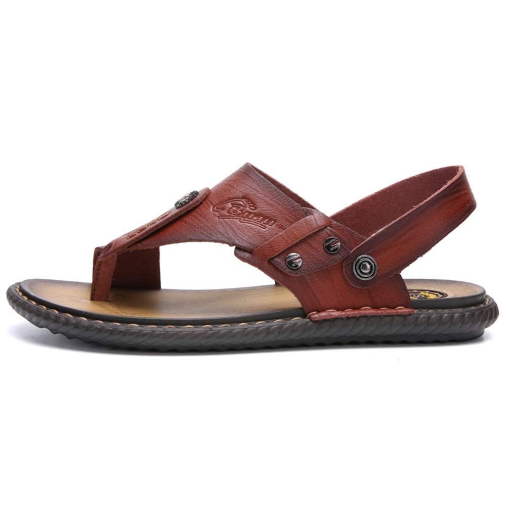 Gobling Men's Sandals Flip Flops Rubber Slippers Comfortable Leather Sandals Summer Outdoor Beach Slippers (Color : Brown, Size : 7 D(M) US) by Gobling Men Sandals (Image #2)