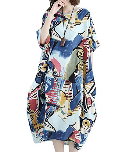 YESNO F01 Women Long Maxi Baggy Dress Casual Plus Size Lagenlook 'Pop Art' Oil Painting - Linen Skirt Pencil
