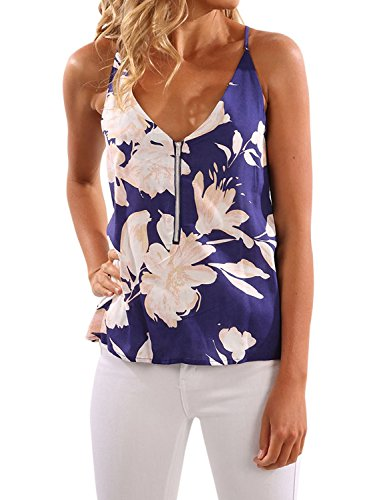 AlvaQ Women Sexy Floral Print Tank Tops for Juniors Sleeveless V Neck Causal Fashion 2018 Blouses
