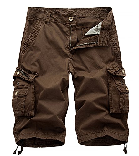 DONSON Mens Camo Multi-Pocket Cargo Shorts Casual Loose Fit Shorts Cotton ()