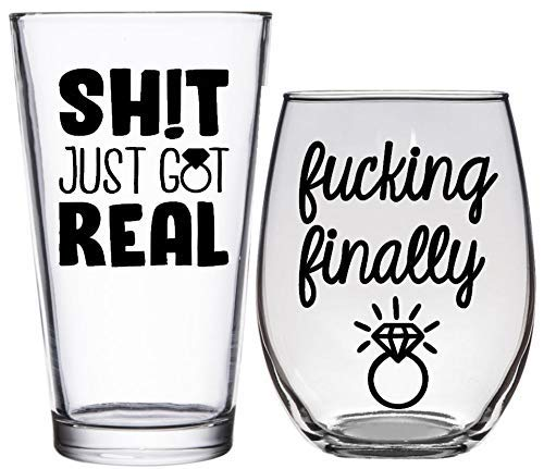 - F❤cking Finally & Sh!t Just Got Real - Engagement Gift - Wine & Beer Glass Set for Couple