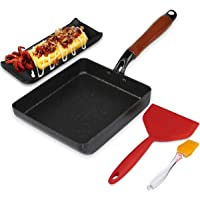 Artcome Japanese Omelette Pan Non-stick Coating Tamagoyaki Egg Pan Rectangle Mini Frying Pan, with Silicone Spatula…