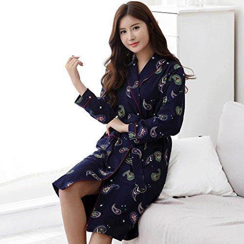 ZLR Primavera Autunno Stagione Lady Pigiama Moda a maniche lunghe Sleep Robe Pure Cotton Home Clothes Accappatoio ( dimensioni : L. )