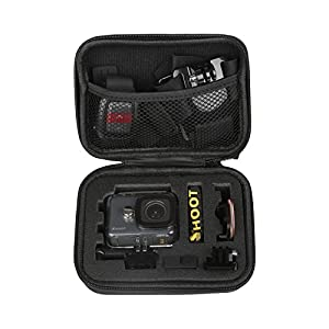 SHOOT Carrying Case (6.3''x4.8''x2.8'') Small Size Protective Camera Storage Cases for GoPro Hero 6/5/4/3+/3 Campark AKASO DBPOWER Crosstour FITFORT Action Camera Accessories