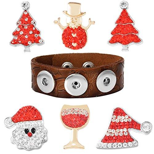 Souarts 1Set Style Noël 1 Bracelet avec 6 Bouton à Pression Strass Cadeaux