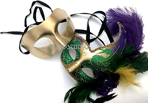 MASQSTUDIO Couples Masquerade Ball Mask Feather Mardi Gras New Year Party for Her (Mardi -