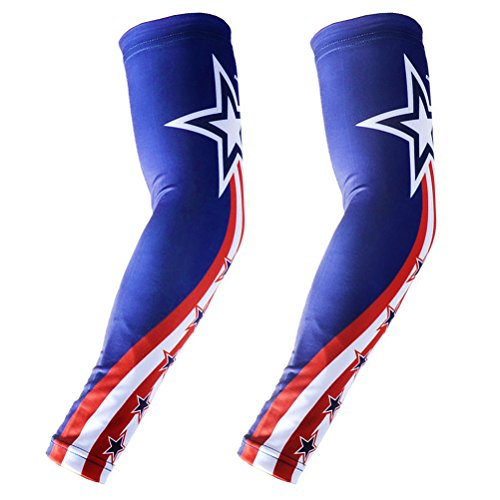 COOLOMG (1 Pair) Child Youth Adult Anti-slip Arm sleeves UV Protection Skin Cover Protector Basketball Baseball Running All Star XS