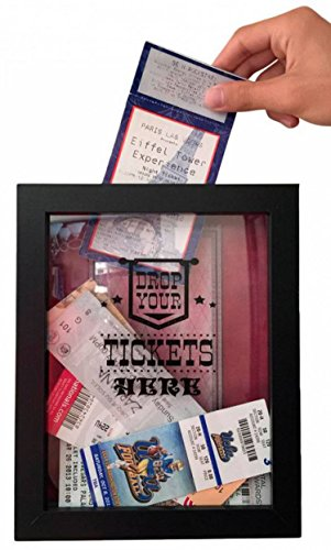 Ticket Shadow Box - Memento Frame - Large Slot on Top of Frame - Memory Box Storage for Any Size Tickets. Best Top Loading Shadowbox for the Concert Movie Theater & Sporting Event Ticket Stubs