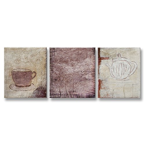 Taza Contemporary Wall - Hand Painted Canvas Paintings Abstract Art Rolled 3 pieces/set - total 120X50cm (approx. 48X20 inch) Unmounted for Living Room Wall Decoration - Coffee Pot And Cup