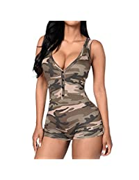 Min Qiao Women V-Neck Sleeveless Camouflage Romper Jumpsuit Bodycon Bodysuit