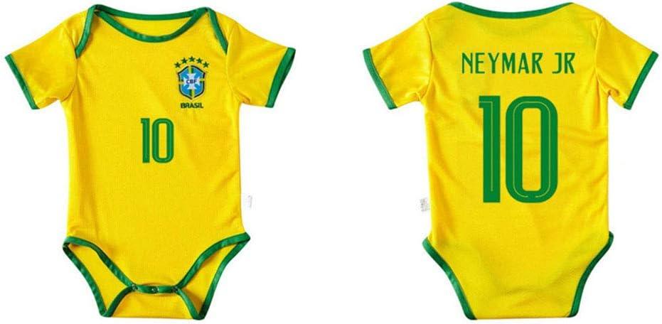 Equipo Nacional de F/útbol de Brasil Neymar # 10 Onesies para Beb/é o Ni/ña LCHENX-Body de Beb/é de Jersey de F/útbol Fan