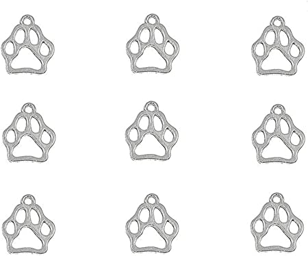 Jewelry Making DIY Dog Paw Print Pet Animal Puppy Footprint Lobster Clip On Charm for Bracelets Charm Pendant