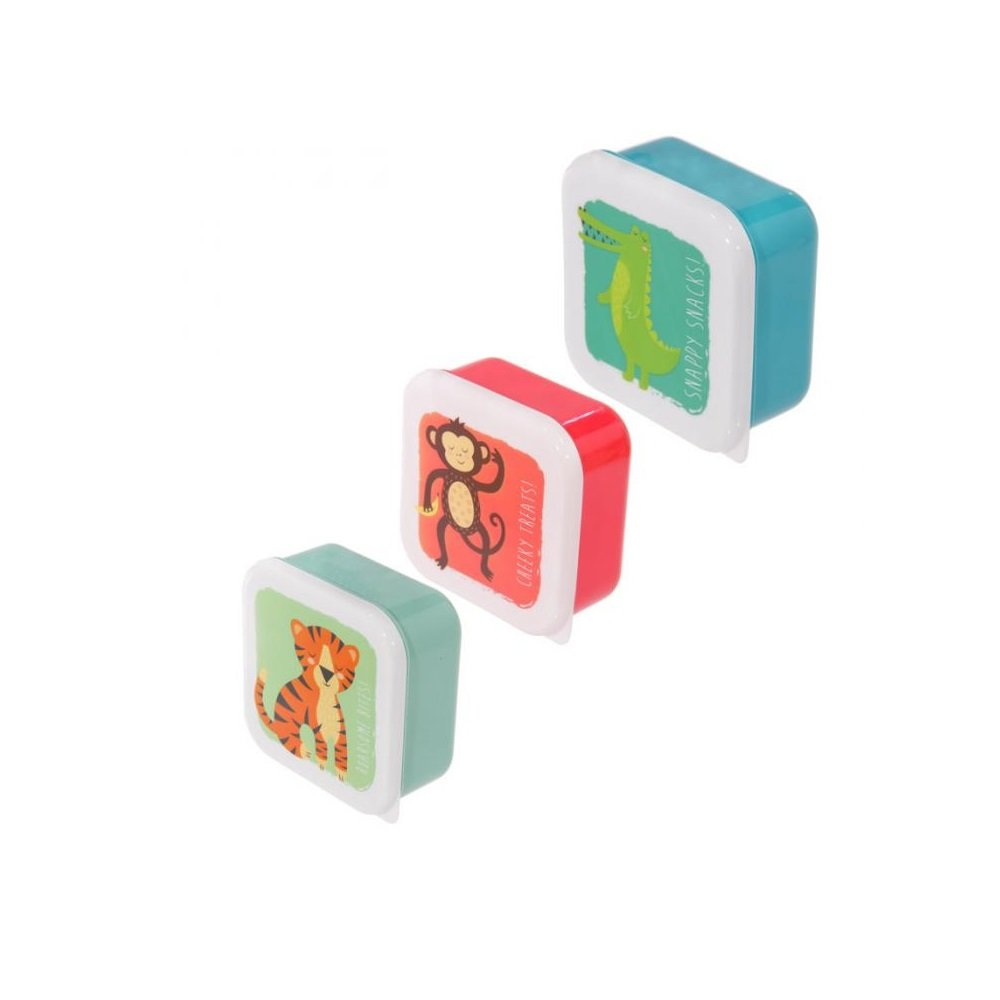 Fun Zoo Animals Design Set of 3 Plastic Lunch Boxes Puckator